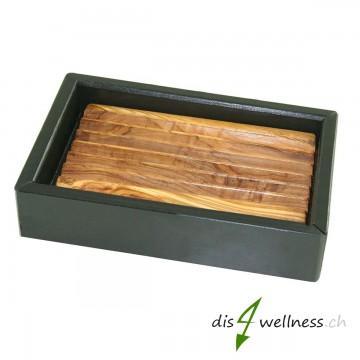 Seifenschale Seifenablage aus Olivenholz und Schiefer 14cm