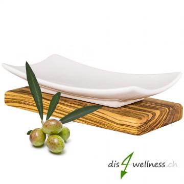 Olivenholz Seifenschale aus Porzellan