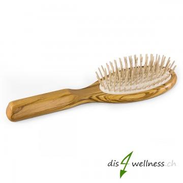 Haarbürste aus Olivenholz mit Holzstiften gross