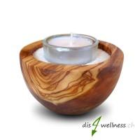 Teelichthalter Kerzenhalter aus Olivenholz mit weissem Sand