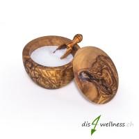 Olivenholz Utensiliendose Dose Behälter rund