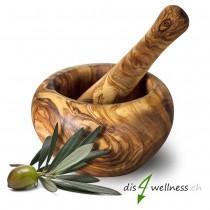 Mörser und Stössel aus Olivenholz