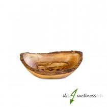 Olivenholz Seifenschale rustikal, mittelgross (ca. 12-14 cm) mit Rille