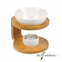 "Pajoma - Duftlampe ""Round"" aus Keramik und Bambus, weiss"