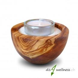 Teelichthalter Wellness-Kerzenhalter Olivenholz